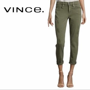 Vince | Mason Relaxed Rolled Jeans in Olive Green